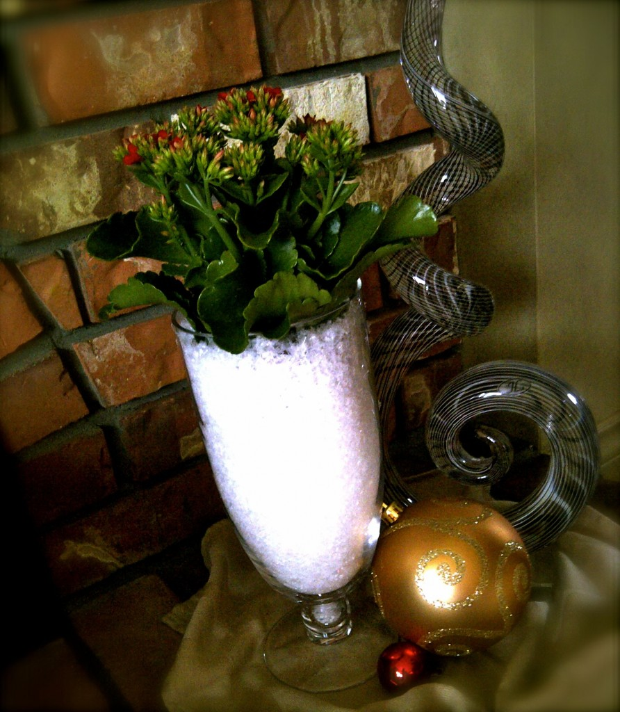 Christmas Decorating, Vase with snow
