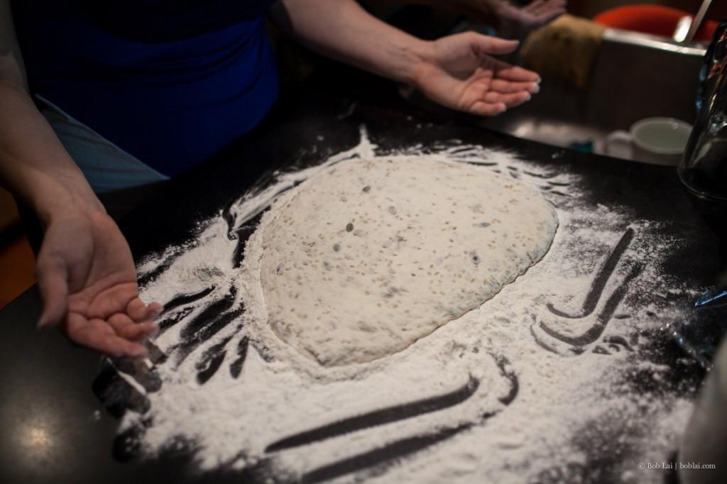 bread on flour