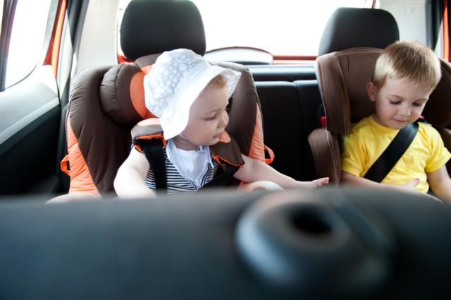 Children travelling in car