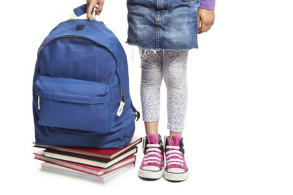 preschool preparation, bag and books