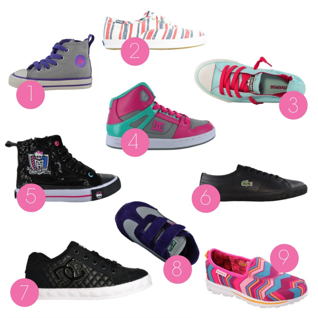 girls shoes numbered