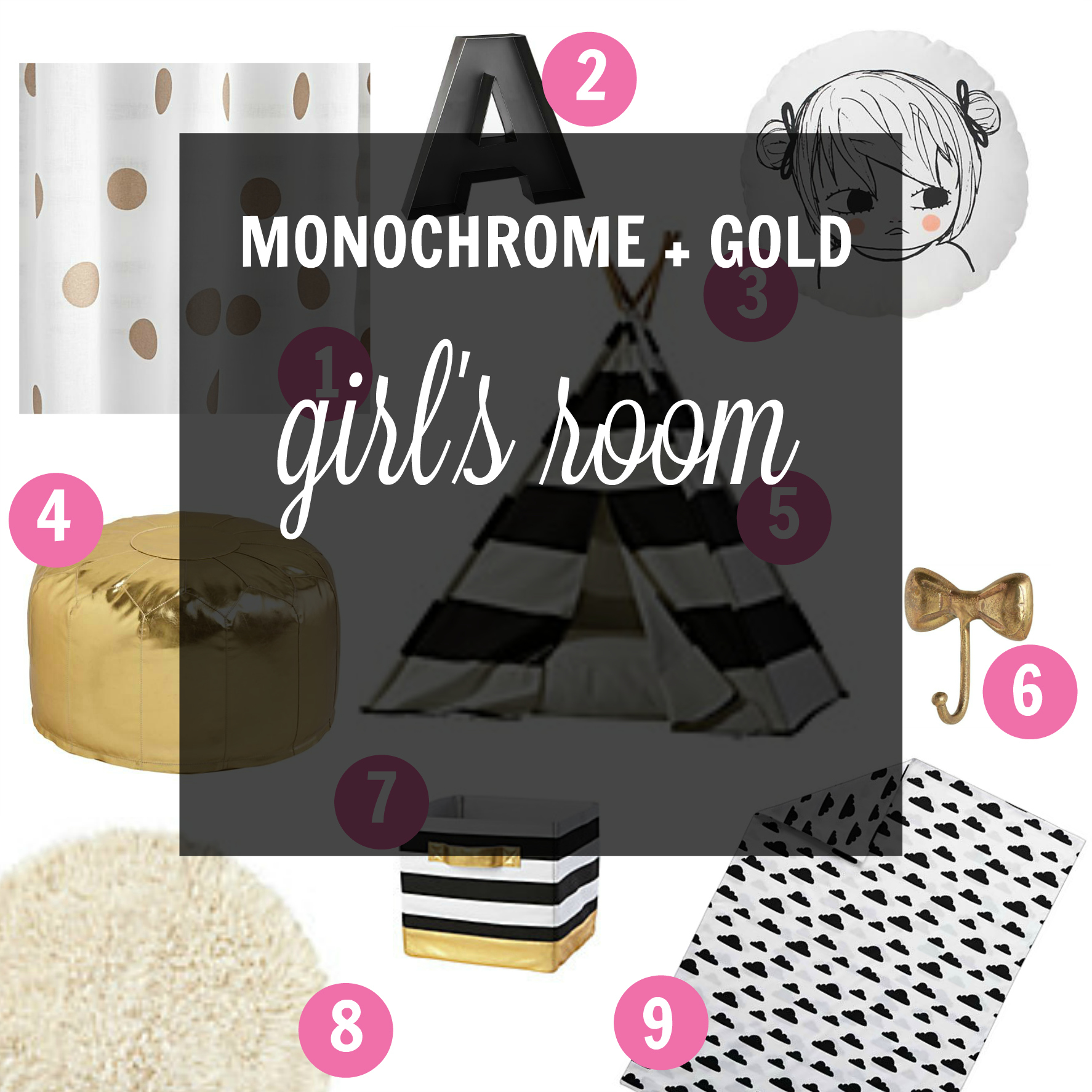 pin monchrome girls room