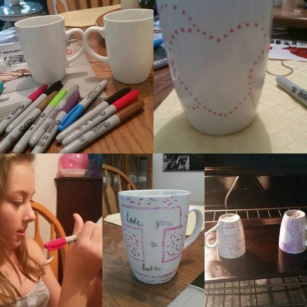 Collage of making DIY Valentine's Mugs