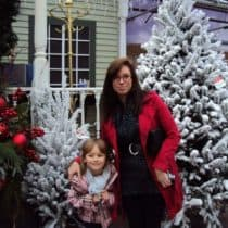 Ashley and her daughter at a Christmas tree store.