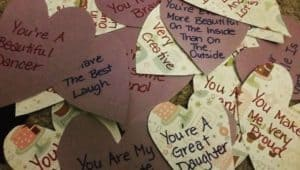Homemade Hearts with writing on it