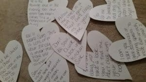 DIY heart cut outs with scavenger hunt clues