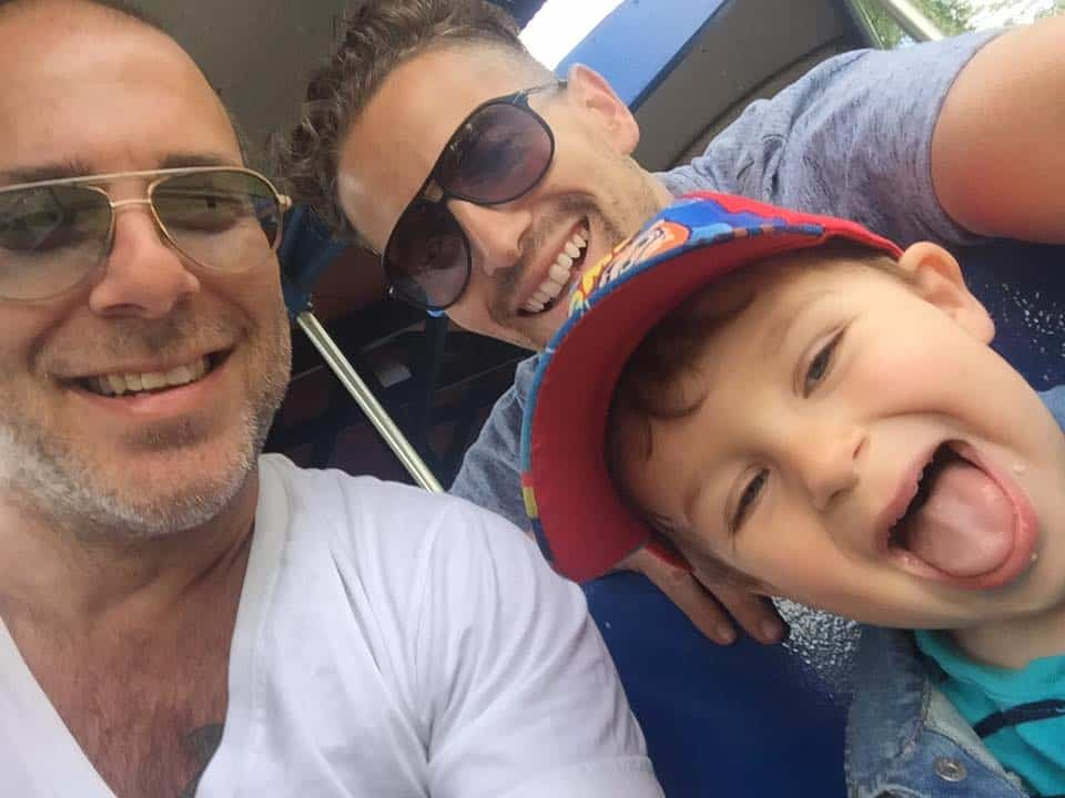 BJ Barone and Frankie Nelson with their son