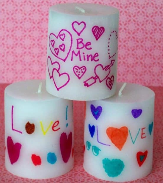 candles with valentines designs
