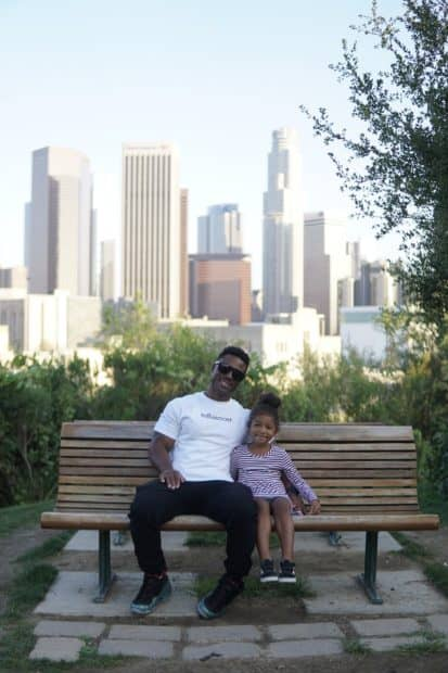 Dad and daughter on bench