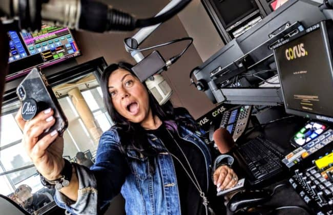 Pina taking a selfie at radio station