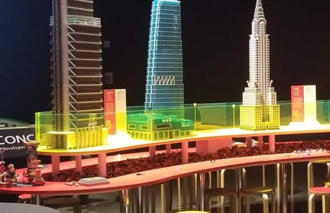 model buildings made out of lego on a table
