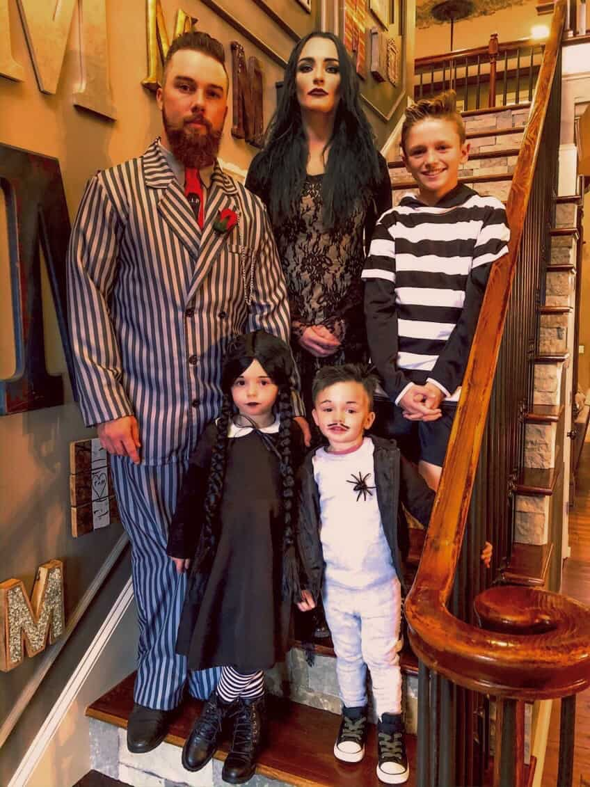 Taylor McKinney and his family in costume on Halloween