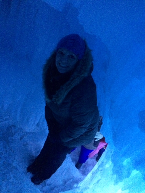 Climbing up to the ice slide!