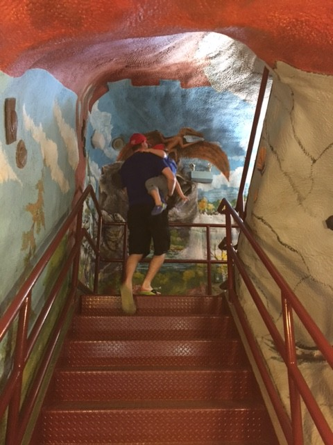 Climbing the inside of the T-Rex!