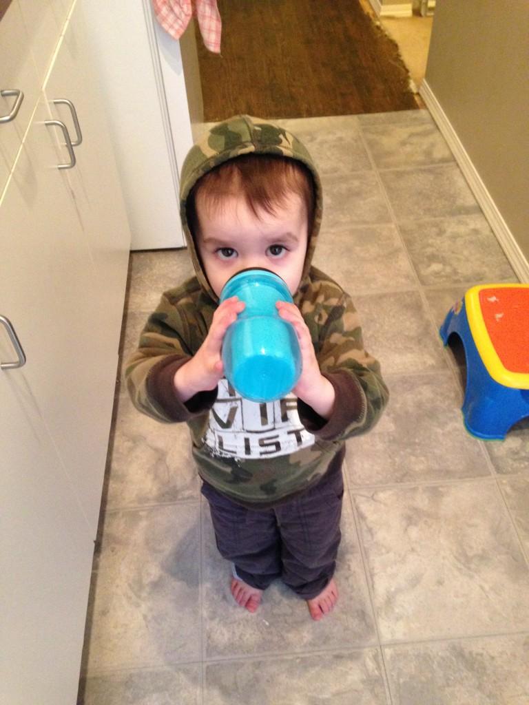 Parker J enjoying his milk!
